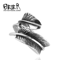 Size 7-13  Vintage Feather Ring Stainless Steel Titanium Steel VIntage Jewelry For Man Woman BR2044