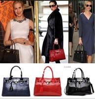 SISI Italian designer vintage crocodile 100% cow genuine leather shoulder bag!women crossbody tote with lock! fahion handbag HOT
