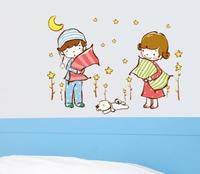 Free Shipping ( 2 pcs / lot )  Large Wall Stickers Take Pillow Cartoon  Kids  / Bedroom, Children Room Wall Sticker