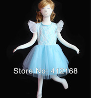 High Quality Lace Sky Blue Flower Girls Dresses 2013 New For Prom Party Ball Wedding Pageant Princess Gown Children's kids