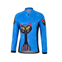 Freefisher Women's Cycling Bicycle Clothing Sport Long sleeve Fleece  Jersey  Blue cat ABC611A