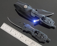 Free Shipping  multi tool knife Outdoor knife multifunctional tool Auto rescue tool knife Band LED  Folding Blade Knife