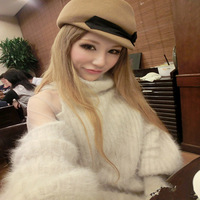 Free shipping 2013 NEW High Quality Rabbit Hair High Collar Sweater McCully Gauze Stitching Sexy Strapless Knit Sweater Dress