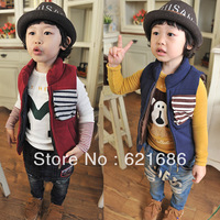 2103 winter children clothing kids boys girls cotton sleeveless patckwork coat vest 3T-10