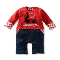 Newest  Newborn Retial Baby infant clothes climbing clothes kids cotton Rompers /Baby I love MaMa I love papa Rompers baby wear