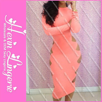 Free Shipping 2013 New Arrival Pink and Cut Out Side Bandage dress Prom Long Sleeve Evening Dresses 5554