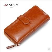 2014 Wallet Female Long Design Oil Wax Cowhide Leather Women's Wallet  Female Day Clutch