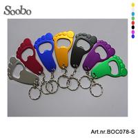 500pcs/lot free shipping&customized log,footprint shaped aluminum keychain bottle opener,multi-colors for promotion