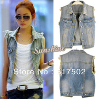 Women's Retro Washed Sleeveless Personalized Cardigan jeans Denim Vest Waistcoat Coat Jacket S,M,L 13876