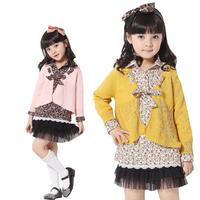 Wholesale 4pcs 2013 Korean Stylish Girls Blouses Children Floral shirts & Knitted Cardigan Sweater Fake 2pcs Set Spring Autumn