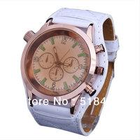 10pcs Men's Face Round Synthetic Leather Quartz Watch Men's Wristwatches
