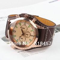 10PCS Leather Men's Quartz Watch Face RoundMen's Wristwatches