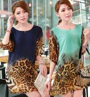 2XL~4XL!! New 2014 Summer Ladies Fashion Plus Size XXXXXL Lantern Half Sleeve Leopard Print Straight Chiffon Loose Short Dresses