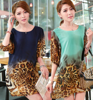 XL~5XL!! New 2014 Summer Ladies Fashion Plus Size XXXXXL Lantern Half Sleeve Leopard Print Straight Chiffon Loose Short Dresses