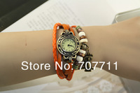 Owl Pendant Leather Strap Watch for women Vintage Watches Quartz Casual watch bronze Ladies wristwatch bracelet Dress watch