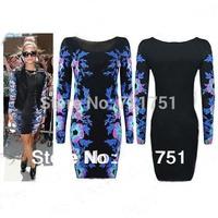 Free Shipping New Fashion 2014 women Celeb Long Sleeve Contrast flower Print O-neck Stretch Sheath Slim Pencil Party Dresses