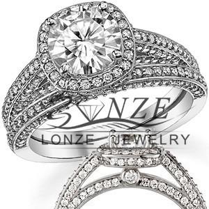 Fine Jewelry 2 Carat Legacy Style Halo ASCD Lab Grown Diamond Solid 9K Gold Natural Diamond Color Ring Diamond Wedding Set(China (Mainland))