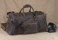 Genuine leather travel bag men duffel bag large capacity gym bag with shoulder strap TIDING 10984