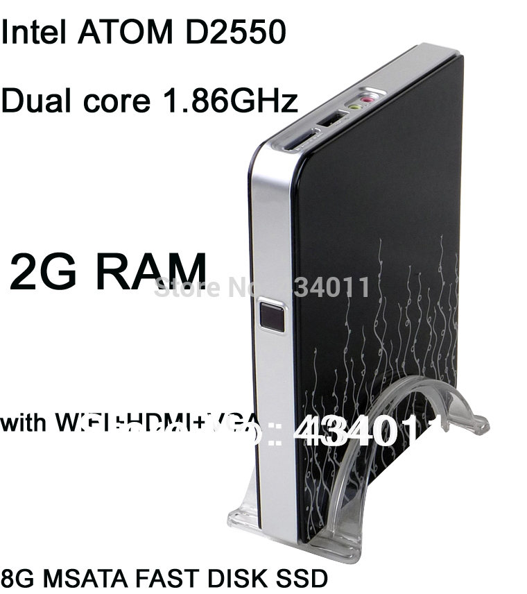 thin client mini COMPUTER intel ATOM D2550 with HDMI+VGA+WIFI+bluetooth windows xp 2G RAM 8G SSD(China (Mainland))