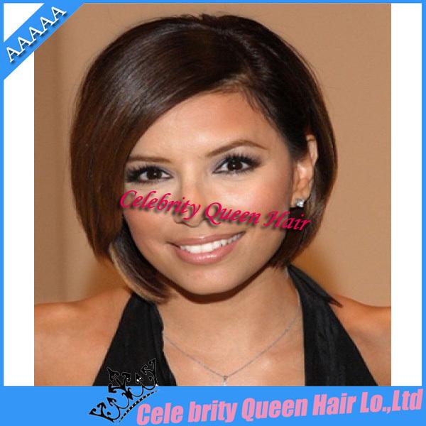 """Grátis frete nova rainha bob barato brasileira cor marrom cabelo humano 10 """" - 24 """" glueless full lace wig(China (Mainland))"""