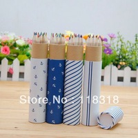 $15 minus $3,(1 Lot=12 Pcs Pencil)DIY Decorative Art Colored Pencils Set Blue Classic Box Pen Case School Supplies Free Shipping