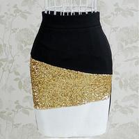 Hot Sale Gold Sequins Skirt Black and White Spliced Mini Skirt Slim Fit OL Work Skirts Slim Pencil Skirt HY08128