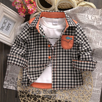 free shipping 1-3 years old Children's clothing children spring shirts baby black plaid shirt boys long-sleeve shirt