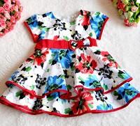 girl dress flower with bow dress ZA girls dress girl party dress casual dress baby dress new 2014 girls Kids children 140 z