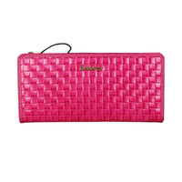 2013-The new woman long leather wallet many screens weaving grain hand bags