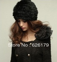 Free Shipping Genuine Rabbit fur knitted hat Beanie Many Colors Winter Female Cap