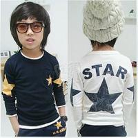 Hot Sale 2014 new long sleeve children t shirts European children t shirts,brand children outerwear star boys t shirt 5pcs/lot