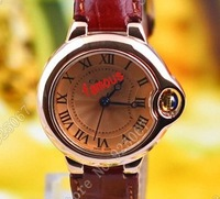2014 designer brand brown vintage leather band analog waterproof man wrist watch quartz watch for men, wholesale