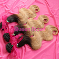 QNice new arrival Ombre color 1b/27# two tone virgin brazilian hair body weave ombre hair extensions 3or 4 pcs/lot Free Shipping
