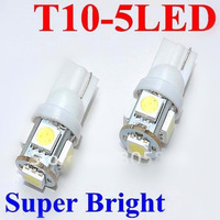 free shipping wholesale 50pcs car LED Lamp T10 W5W 194 5050 SMD 5 LED White Light Bulbs