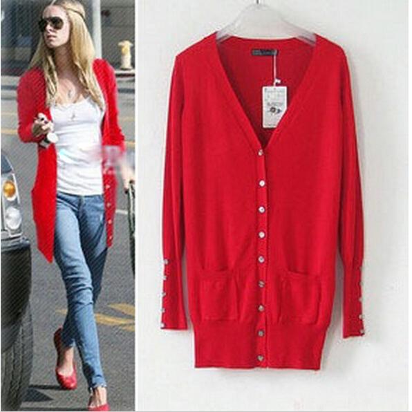 2014 new European Fashion Mid-long Solid Shell Button sweater Womens Sweatshirts Cardigans casacos femininos plus size JOY047(China (Mainland))