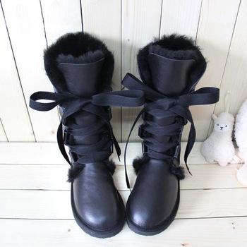 2014 Модный Кружево up snow boots for Женщины bootКружево real sheepskin leather ...