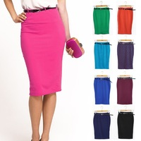 2013 Candy Color Elastic Slim High Waist Slim Hip Skirt Pencil Sskirt Bust Sskirt Polka Dot Step Women Skirt Drop Shipping