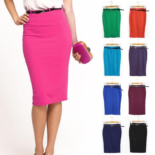 Slim Hip Pencil Polka Dot Step 2014 Fashion Candy Color Elastic Slim High Waist Fit Women Skirt(China (Mainland))