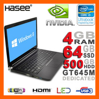 "HASEE NEW 2GB NVIDIA GT645M Ultrabook Laptop 14"" LED Display Intel Core i3-3217U 1.8GHz 4GB RAM 500G HDD 64GB SSD HDMI USB3.0"