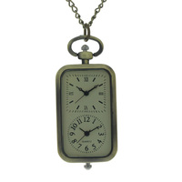 Analog Dual Time Display Fashion and generous Women Men Fob Watch Golden Pendant Open-face Necklace Quartz pocket Watch