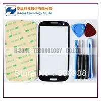 Freeshipping Black Color Galaxy SIII Outer Glass Lens Screen Cover For S3 i9300 Replacement Free Tools Adhesive