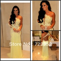 Sexy One Shoulder See Through Lace Yellow Mermaid Prom Evening Dress Vestidos Formales 2014 LED057