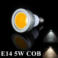 5PCS/LOT  Energy saving 5W E14 COB LED Ceiling light/down light  Cool/Warm White 550-650LM COB Spotlight bulb free shipping
