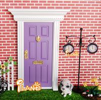 ilan 1:12 Dolls house Miniatures Lovely Fairy Doors Attractive Purple Exterior Door W/ Metal Accessories Exquisite