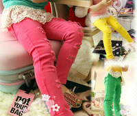 Retail+Free shipping new 2015 children girl broken hole colorful skinny pants,girl casual long pants,kids pants fashion,SA0032R