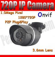 720p Outdoor IP Camera CCTV camera Network Camera waterproof 3.6mm Lens ONVIF 1MP IR CUT Day&Night P2P POE optional