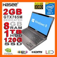 """HASEE NEW Intel Core i7-4700MQ Laptop 3.4GHz 15.6"""" 1080p Full HD 2G NVIDIA GTX765M 8GB Ram 1TB HDD 120G SSD DVDRW HDMI USB3.0"""