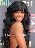 Celebrity Kelly Rowland Glueless Full Lace Wig With Bangs Jet Black Virgin Brazilian Human Hair Long Body Wave Lace Front Wigs