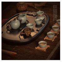 Ceramic set kung fu tea set belt calamander solid wood tea tray tz019