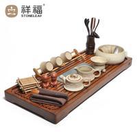 Ceramic kung fu tea set belt bamboo inkstands stone tea tray tea sea tz067